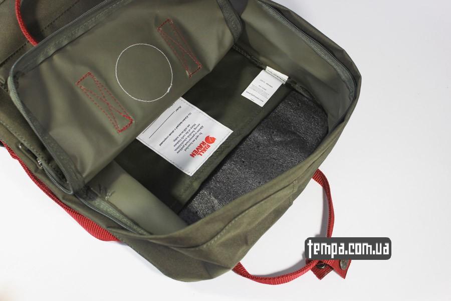 магазин оригинальной одежды рюкзак kanken FJALL RAVEN хаки с красными ручками