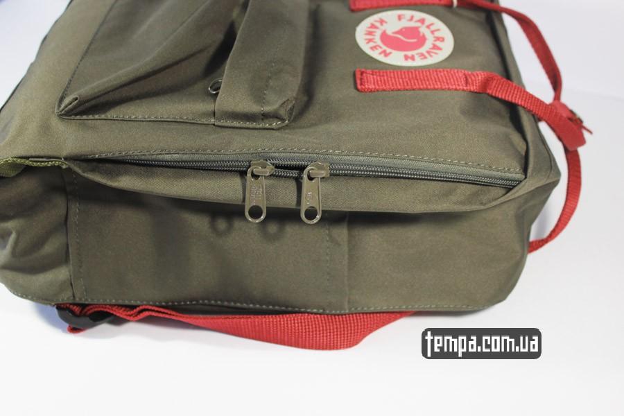 оригинал бренд рюкзак kanken FJALL RAVEN хаки с красными ручками
