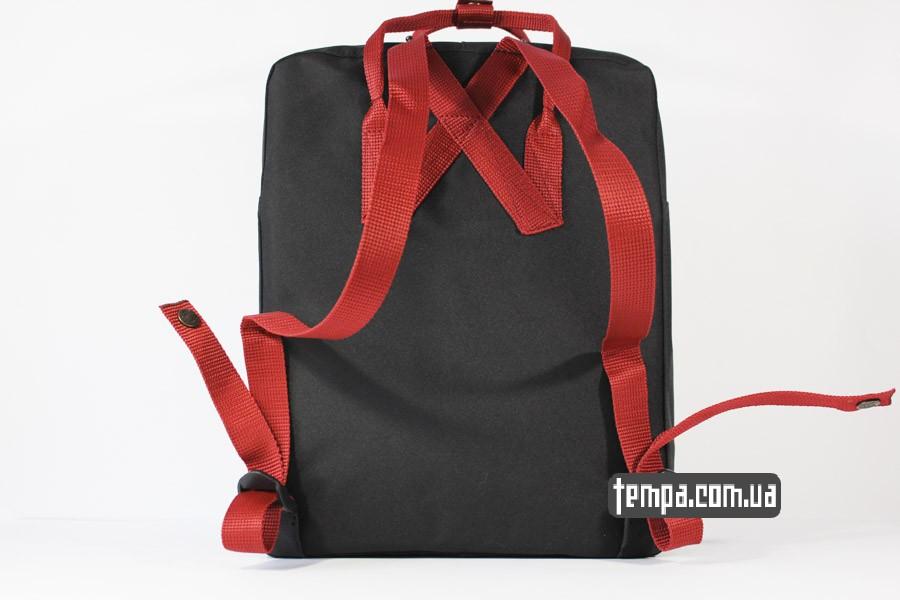 оригинал украина купить kanken FJALL RAVEN рюкзак черный с красными ремешками