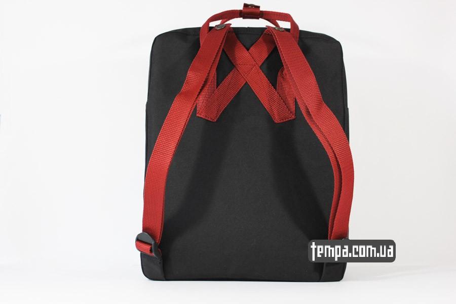 украина магазин kanken FJALL RAVEN рюкзак черный с красными ремешками