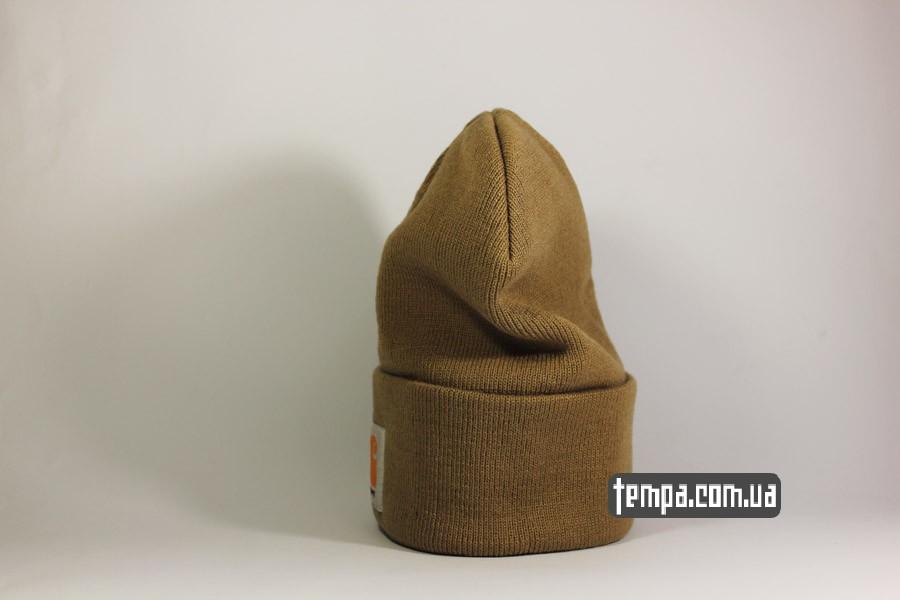 теплая зимняя шапка beanie carhartt коричневая оригинал