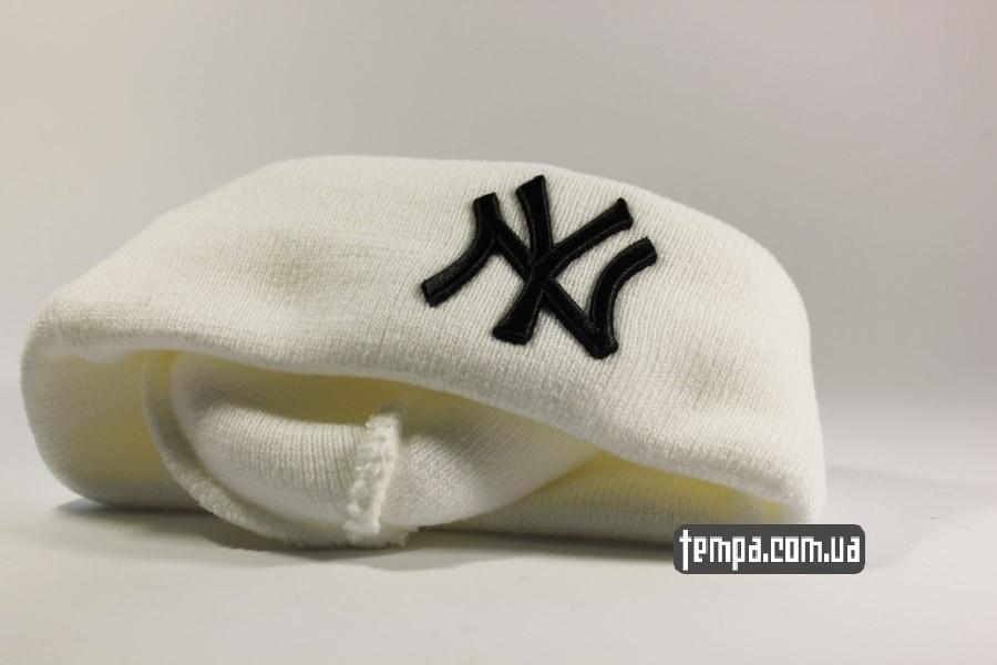 нью эра одежда украина шапка beanie NEW YORK NY Yankees New Era белая
