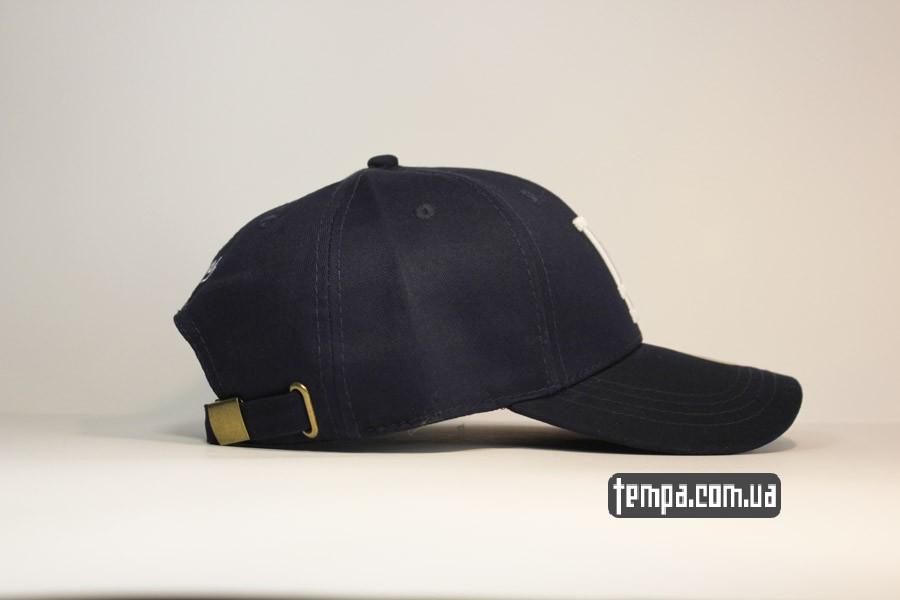 классическая бейсболка кепка LA синяя classic круглый козырек закругленный