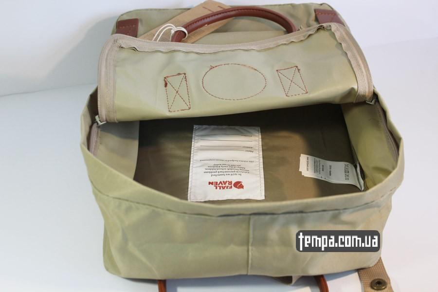 коричневый рюкзак Kanken номер 2 fjallraven хаки коричневый кожаный логотип