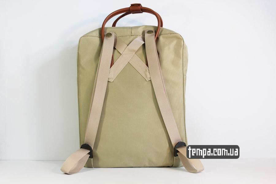 кожа рюкзак Kanken номер 2 fjallraven хаки коричневый кожаный логотип