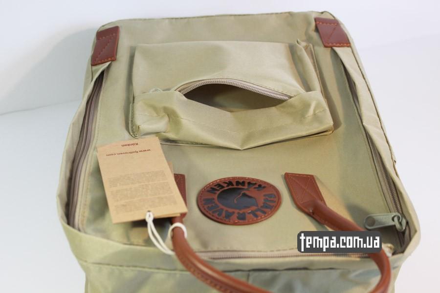 кожаный рюкзак Kanken номер 2 fjallraven хаки коричневый кожаный логотип
