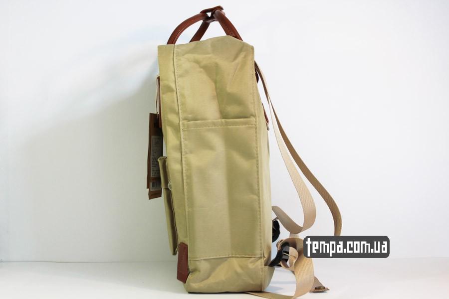 купить сумка рюкзак Kanken номер 2 fjallraven хаки коричневый кожаный логотип