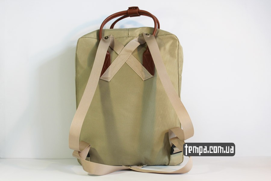 школьный рюкзак Kanken номер 2 fjallraven хаки коричневый кожаный логотип