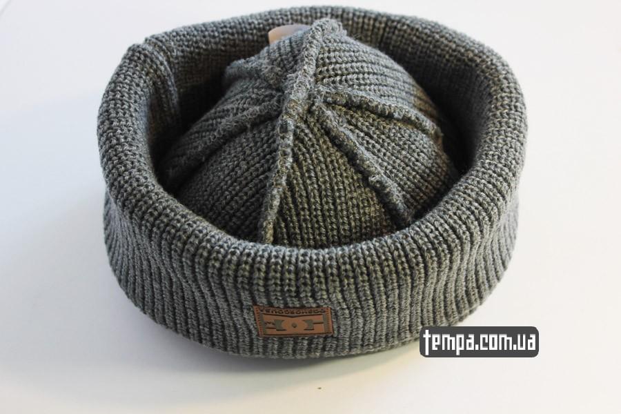 двойная зимняя шапка DC USA Beanie серая бини купить