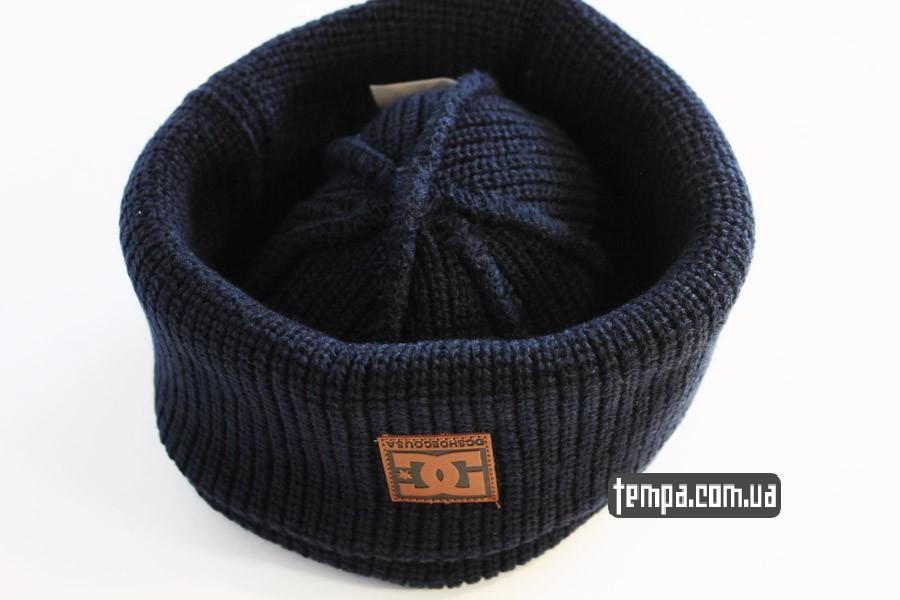 хайповая одежда шапка beanie DC USA синяя бини купить