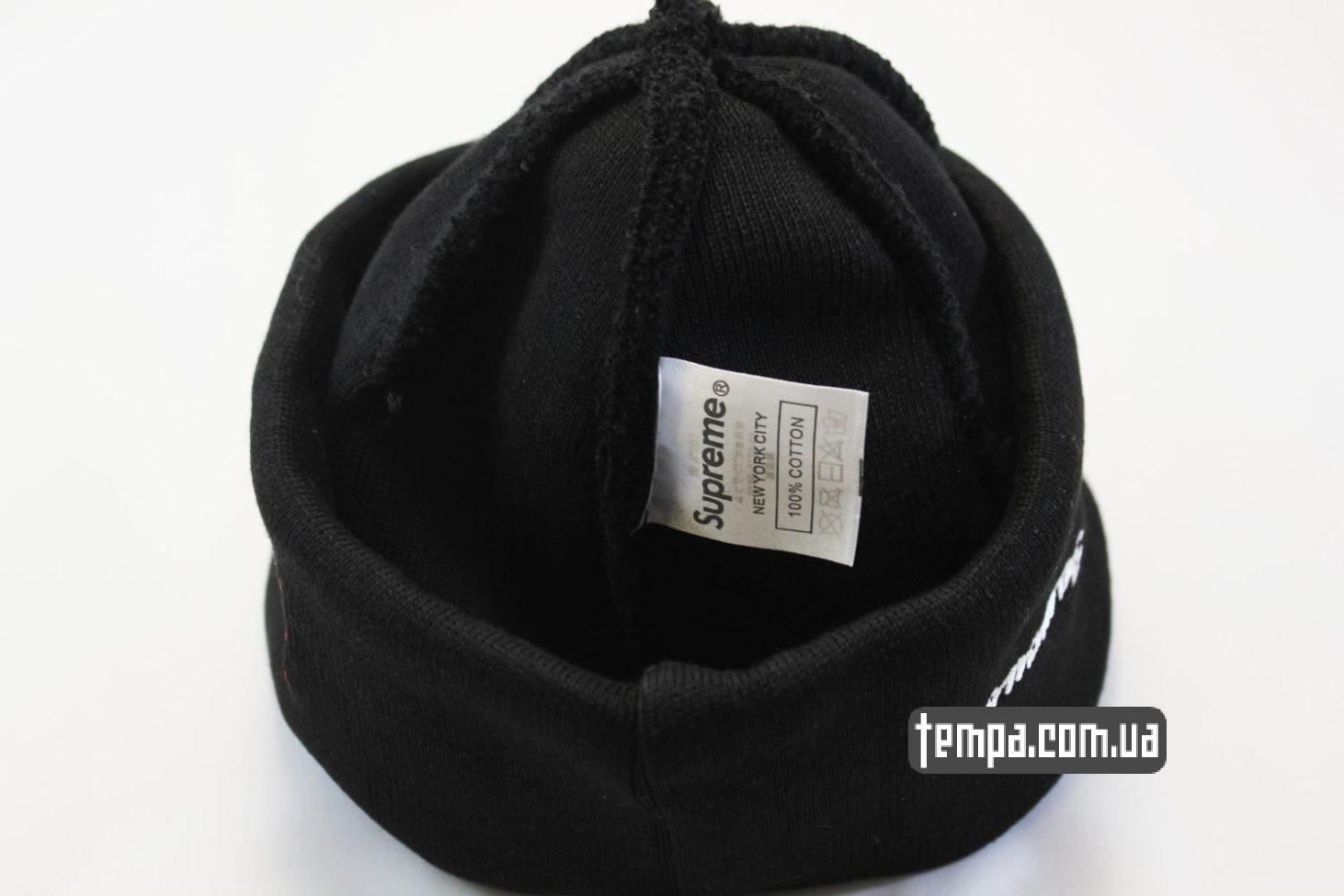 коттоновая шерстягая шапка beanie SUPREME Black черная суприм Украина