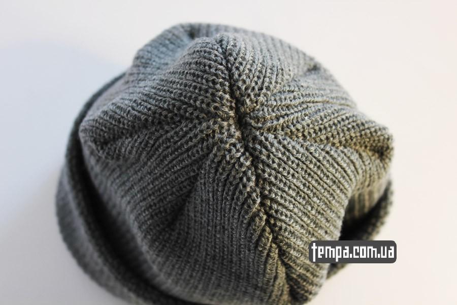 очень теплая мужская женская шапка DC USA Beanie серая бини купить