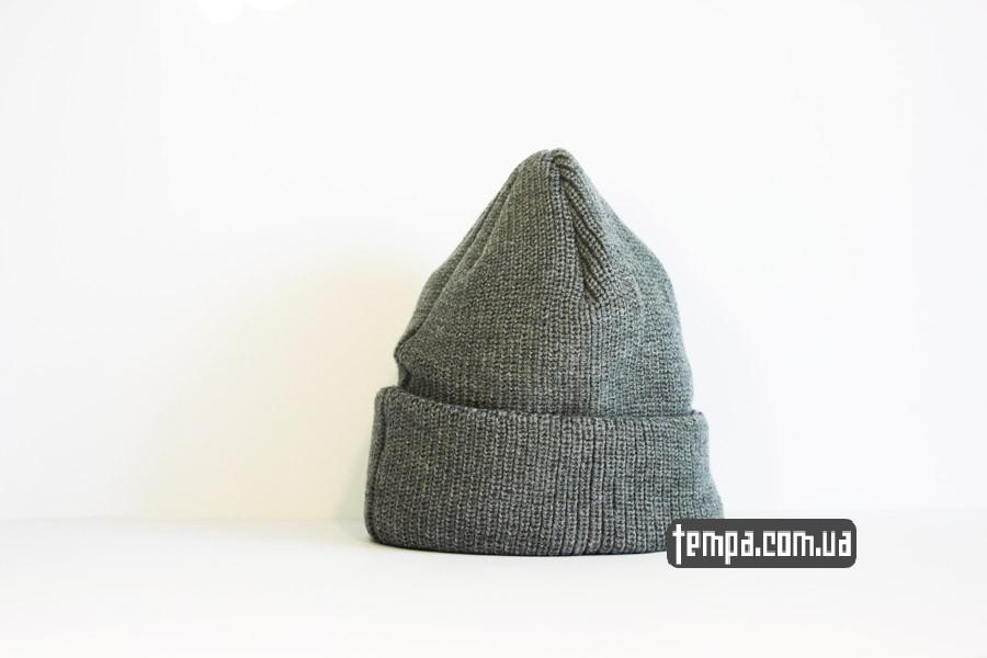 зимняя теплая шапка DC USA Beanie серая бини купить