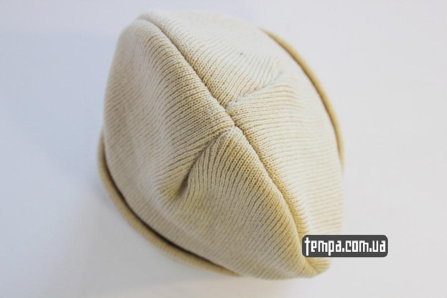 зимняя теплая шапка carhartt beanie белая бежевая серая