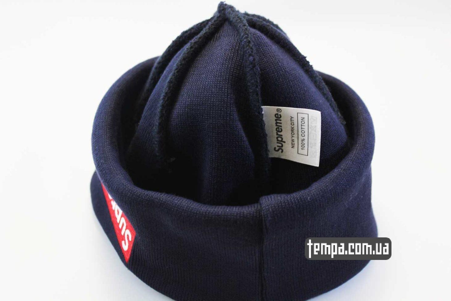 нью эра супим магазин шапка beanie SUPREME New Era blue голубая оригинал