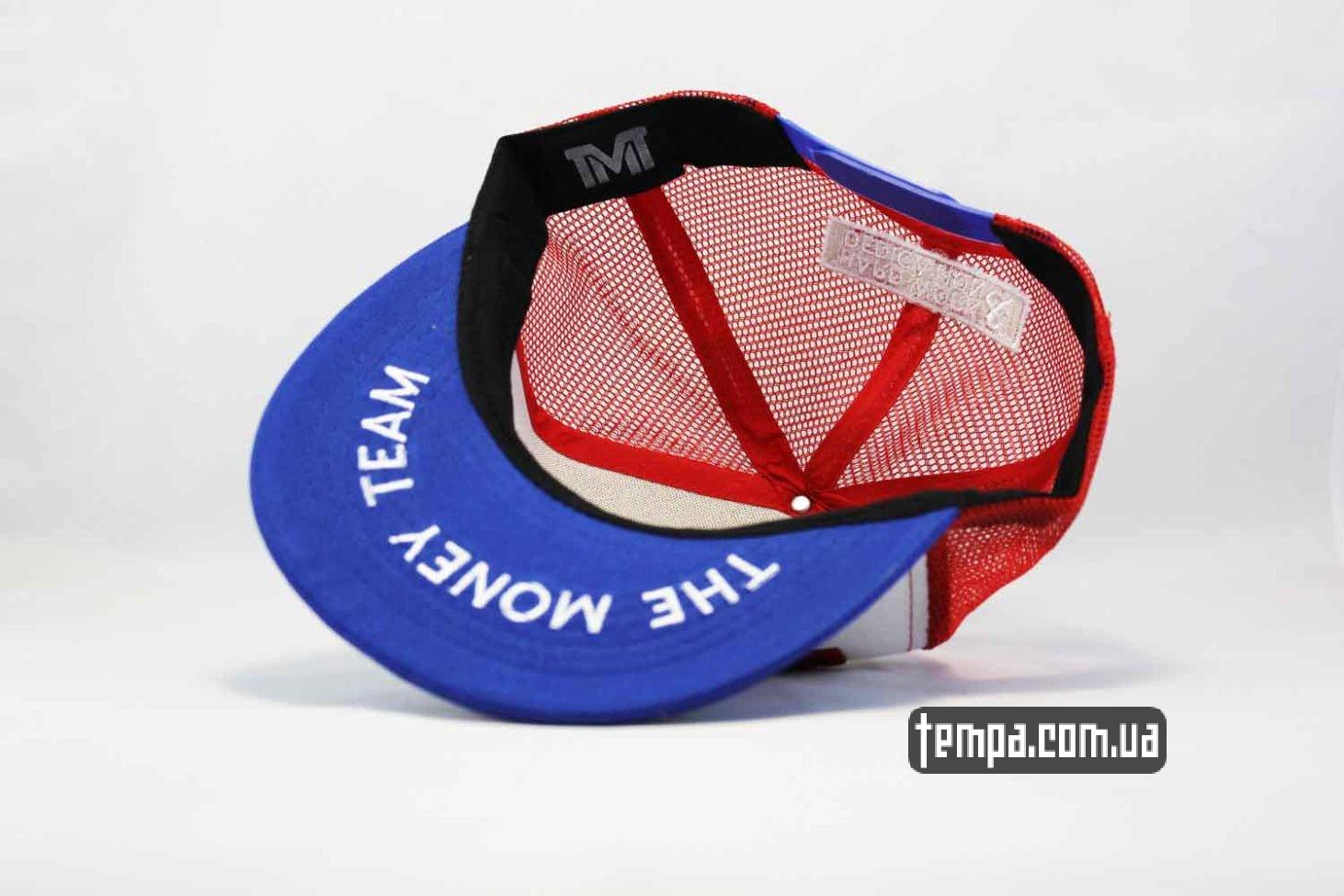 красная синяя кепка snapback TRUCKER TMT THE MONEY TEAM с сеточкой