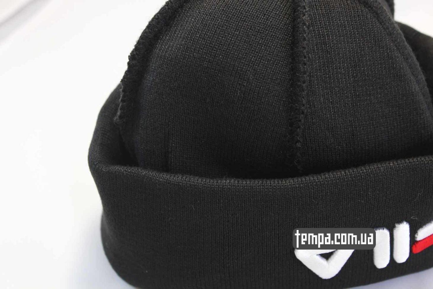 fila украина купить шапка beanie FILA black черная купить