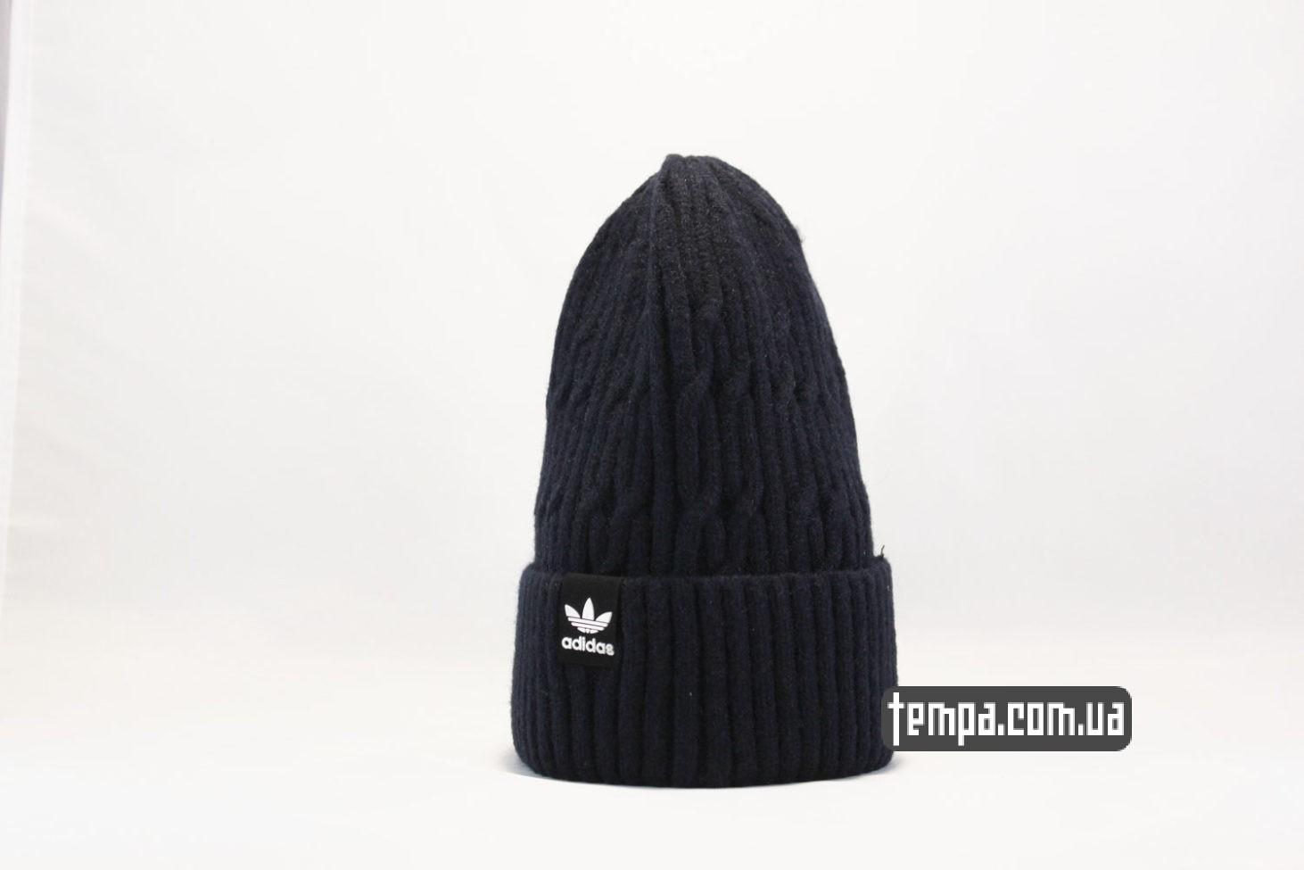 мужские зимние шапка beanie adidas originals синяя бини купить