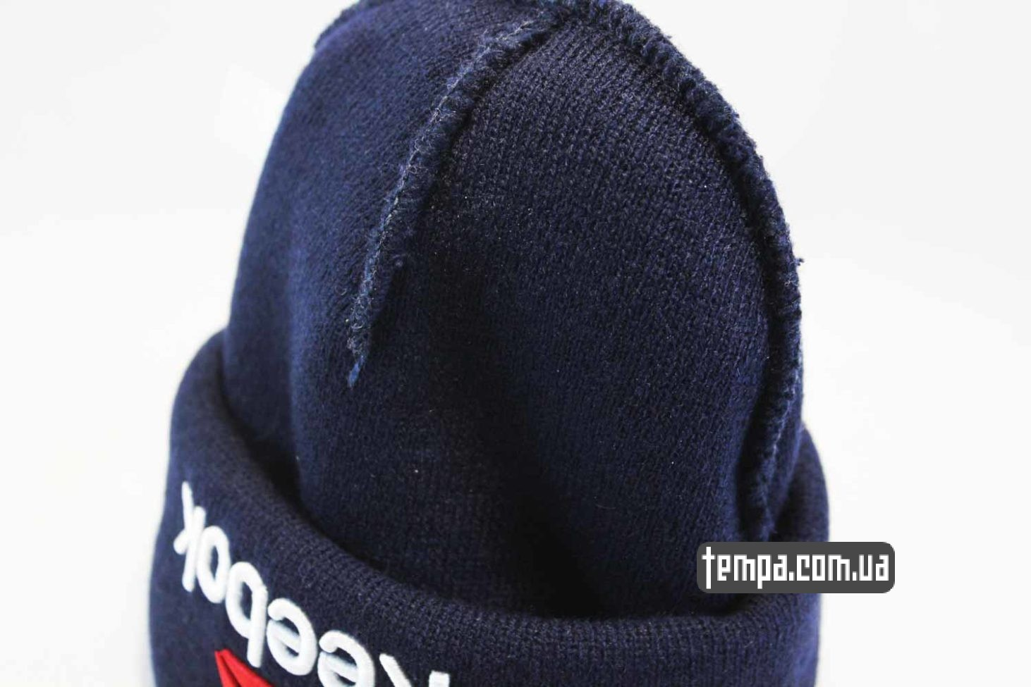 вязанная теплая зимняя шапка beanie REEBOK синяя бини купить