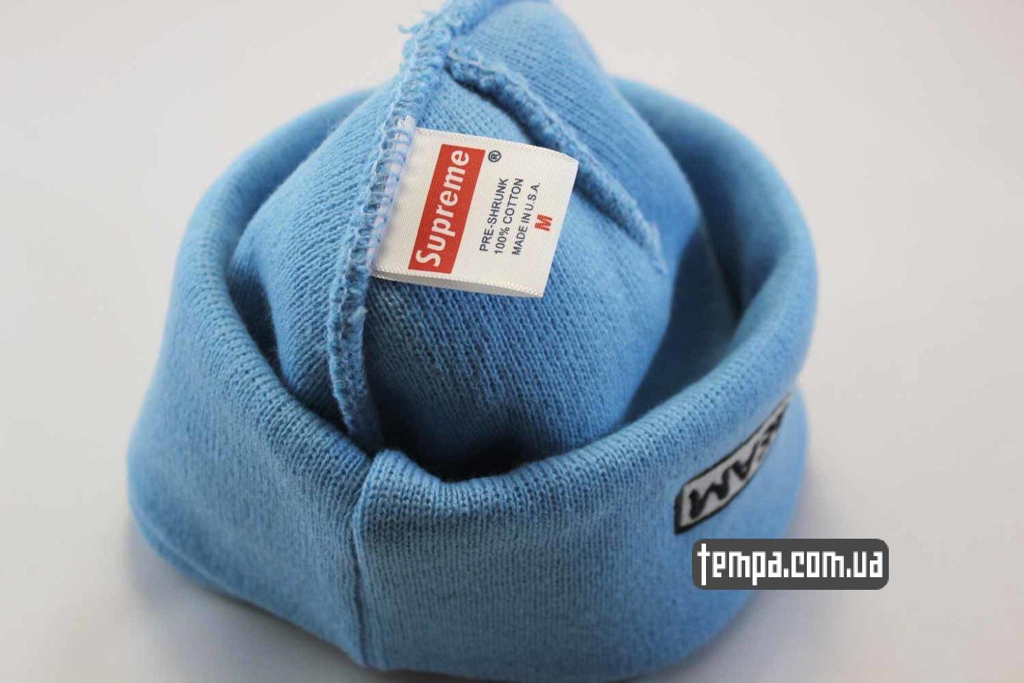 голубая шапка шапка beanie supreme blue голубая supream магазин
