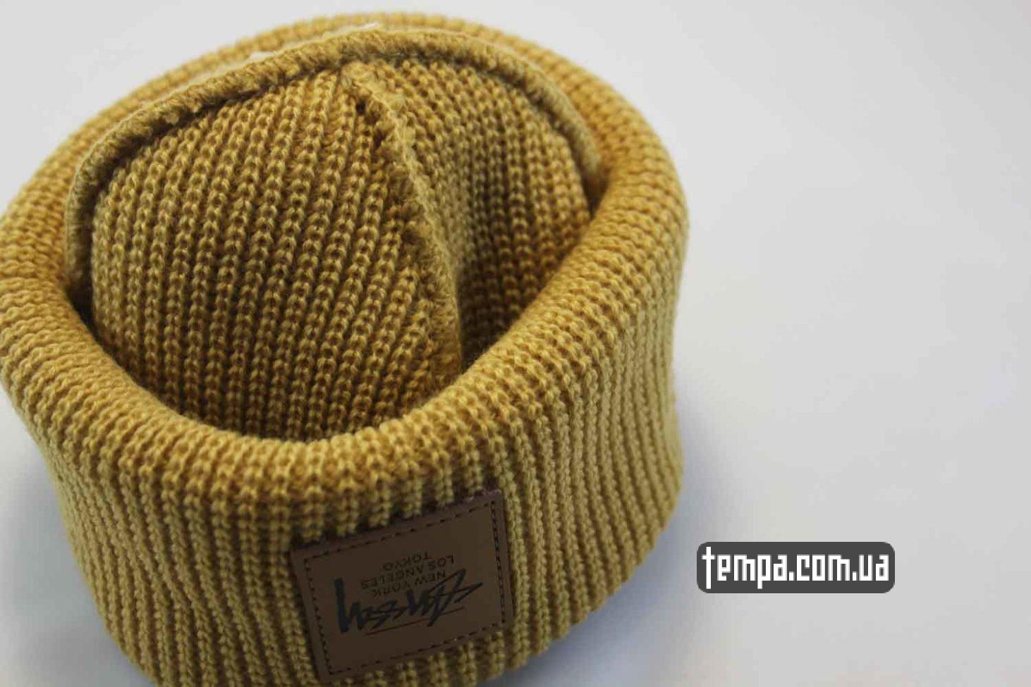 реплика стасси где купить шапка beanie STUSSY New York Los Angeles Tokio yellow желтая