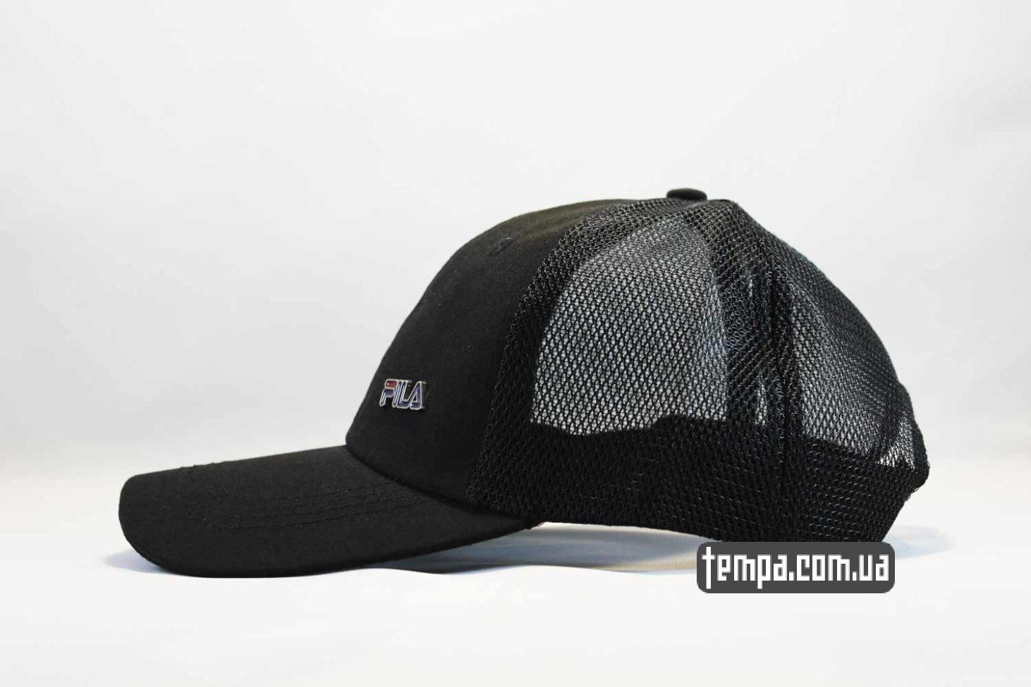 короткий закругленный козырек кепка бейсболка FILA черная black trucker с сеточкой