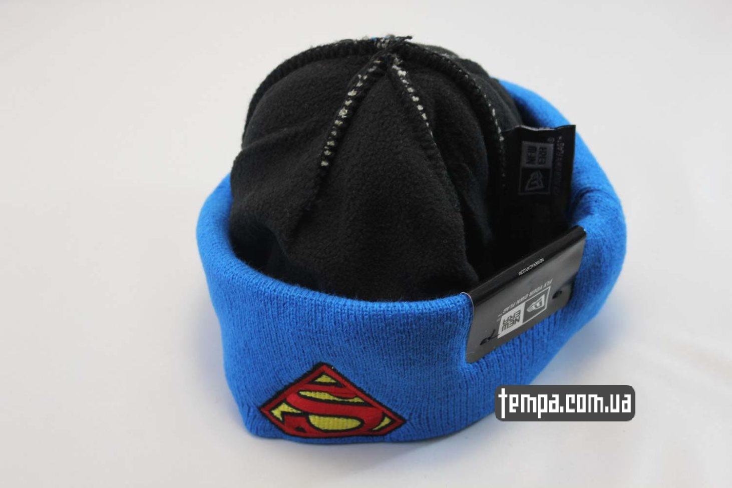 MARVEL купить одежду шапка beanie SUPERMAN NewEra синяя серая