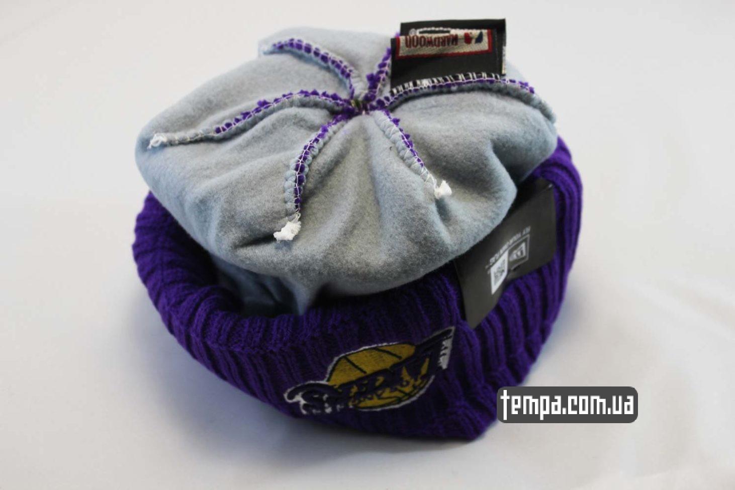 двойная теплая зимняя шапка beanie LAKERS Los Angeles NBA NewEra баскетбольная