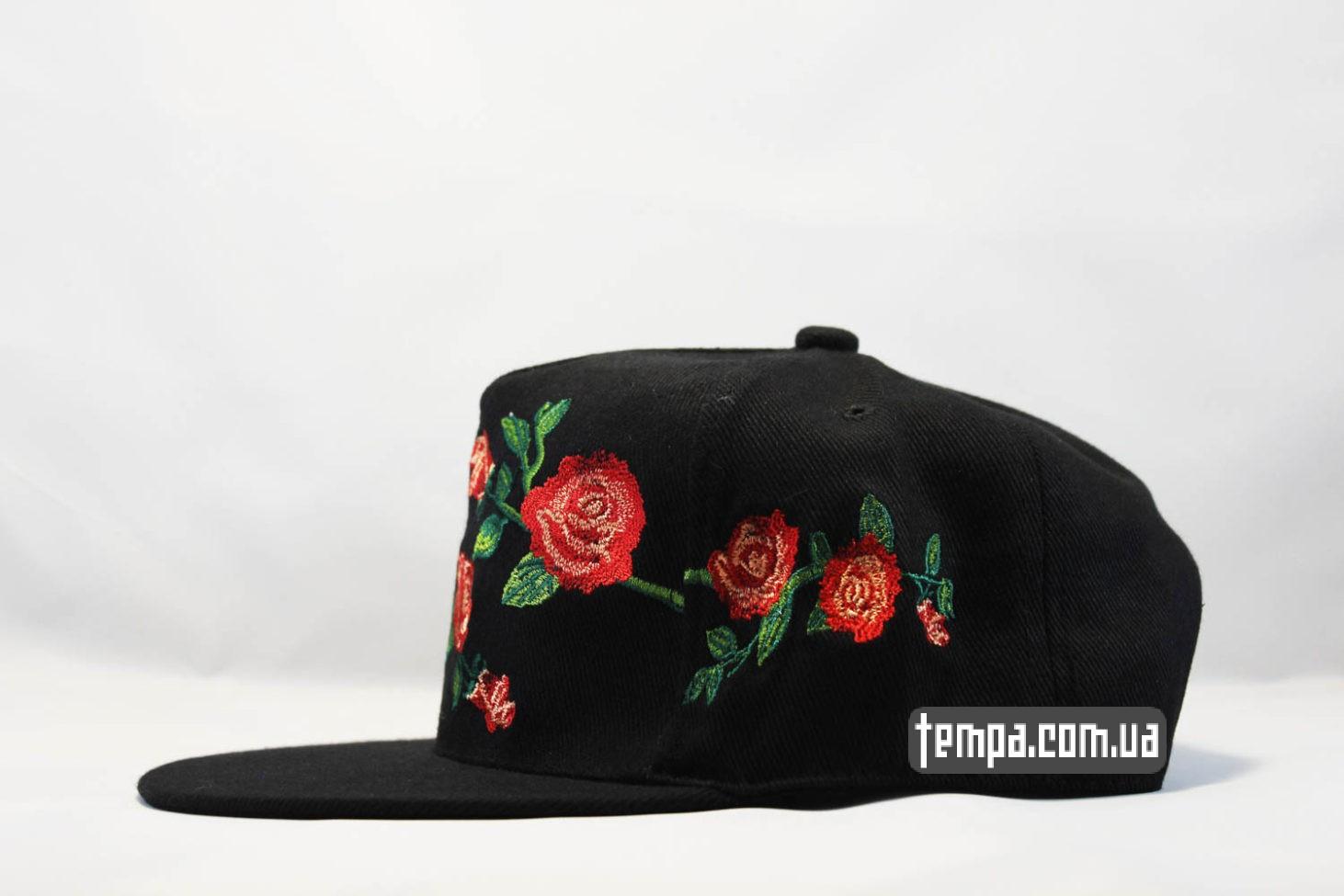 реперская бейсболка кепка Snapback ROSES Cayler And Sons с розами черная