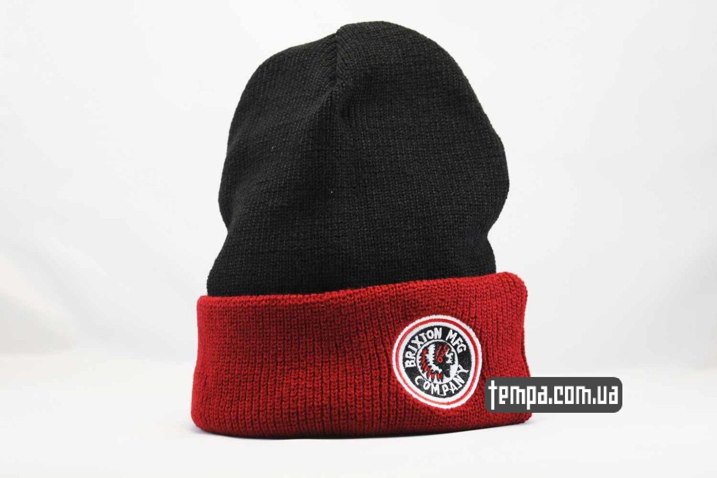 шапка beanie brixxton mfg company indian красная черная с индейцем