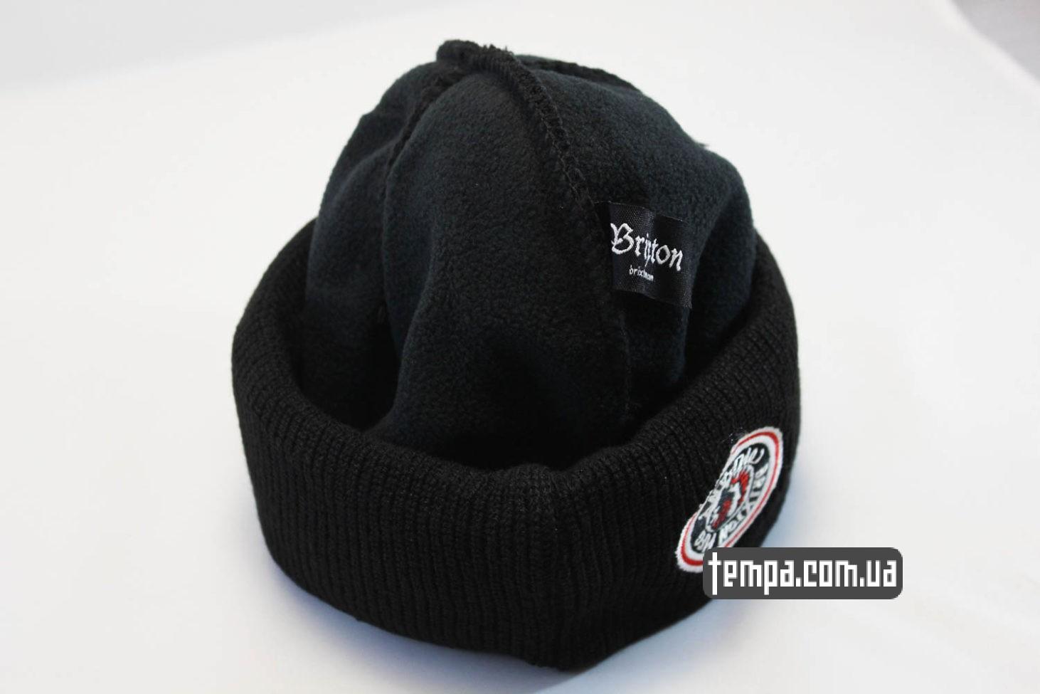 теплая мужская женская шапрка beanie BRIXTON mfg company черная с индейцем
