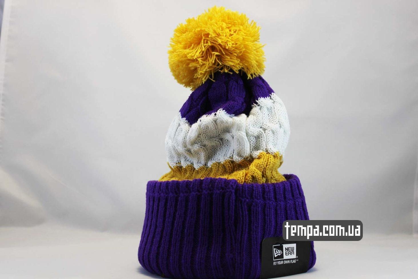 вязаная зимняя теплая шапка beanie LAKERS Los Angeles NBA NewEra баскетбольная