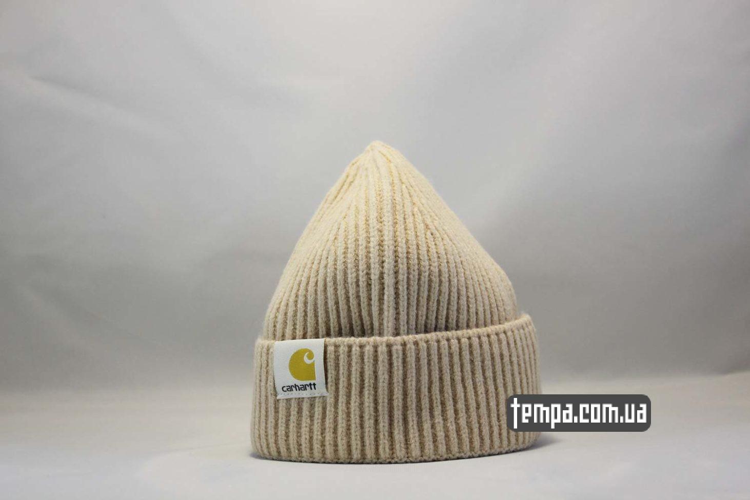 каороткая шапка beanie Carhartt бежевая купить Украина