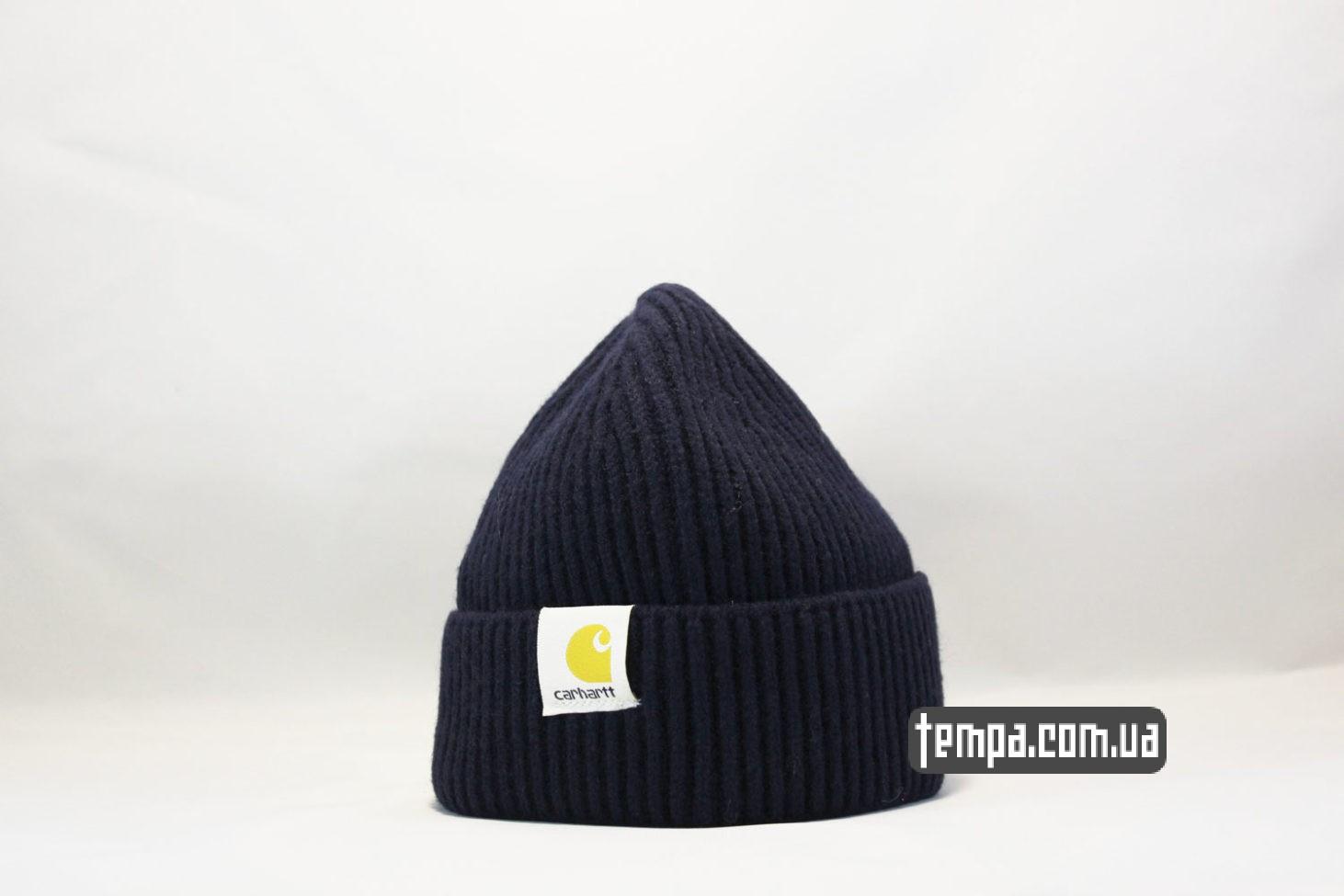 короткая молодежная шапка beanie Carhartt Blue синяя магазин купить