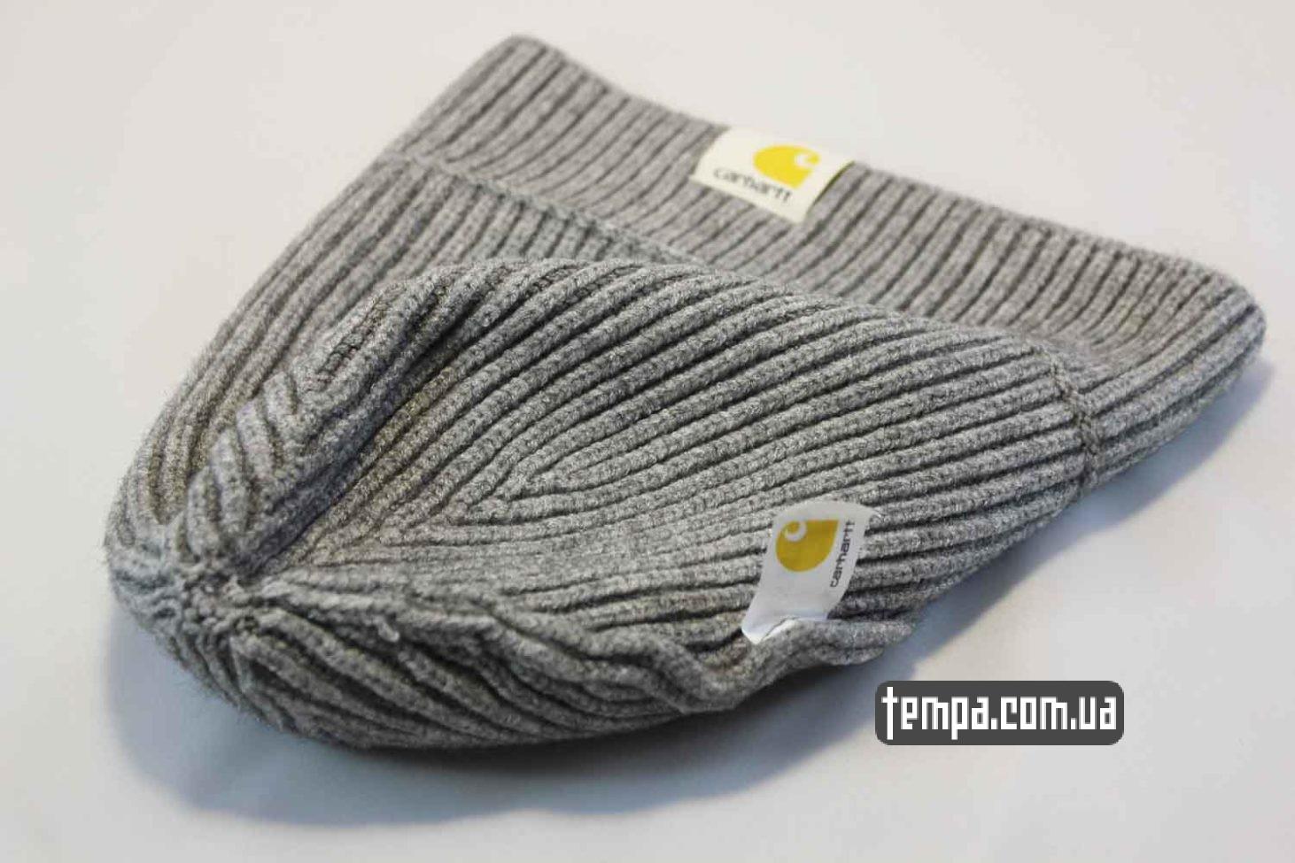 короткая теплая шерстяная зимняя шапка beanie Carhartt grey серая купить магазин