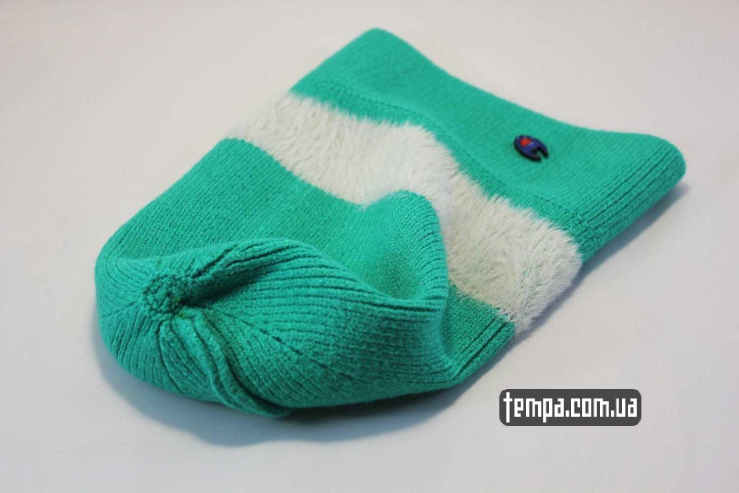теплая двойной слой шапка beanie Champion green зеленая купить Украина