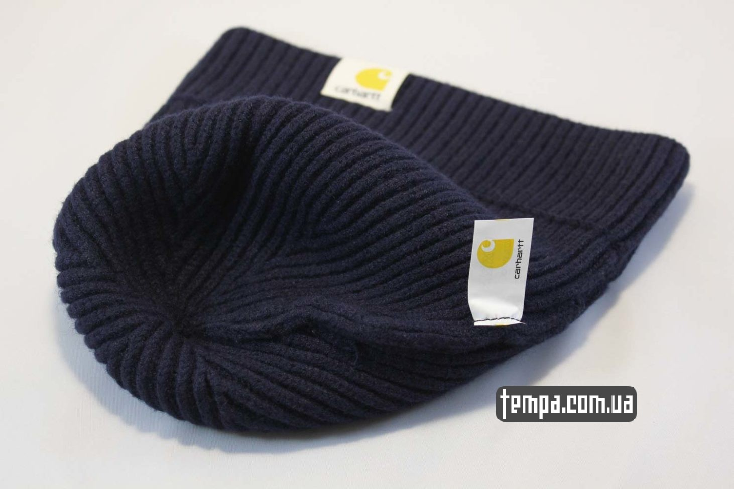 теплая мягка зимняя шапка beanie Carhartt Blue синяя магазин купить