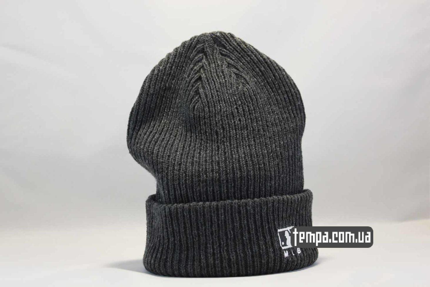теплая зимняя шапка beanie LA Los Angeles New Era серая