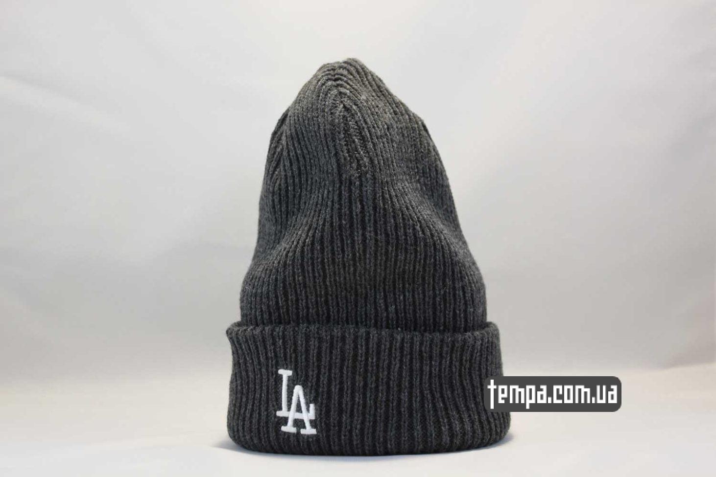 вязанная мягкая шапка beanie LA Los Angeles New Era серая