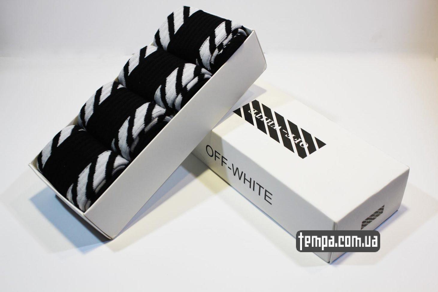 с принтами надписями носки высокие OFF WHITE черные купить