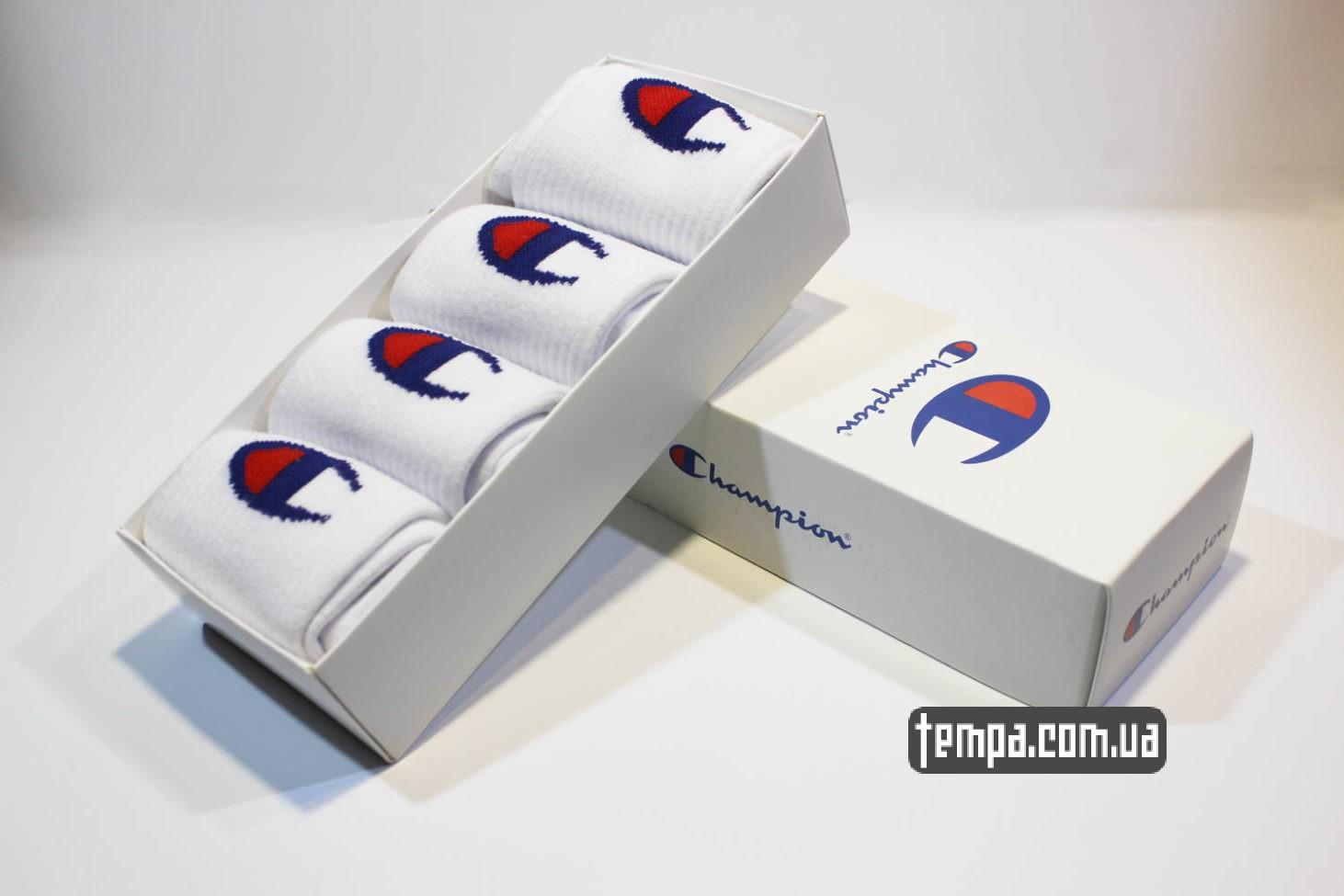 высокие носки Champion белые с логотипом