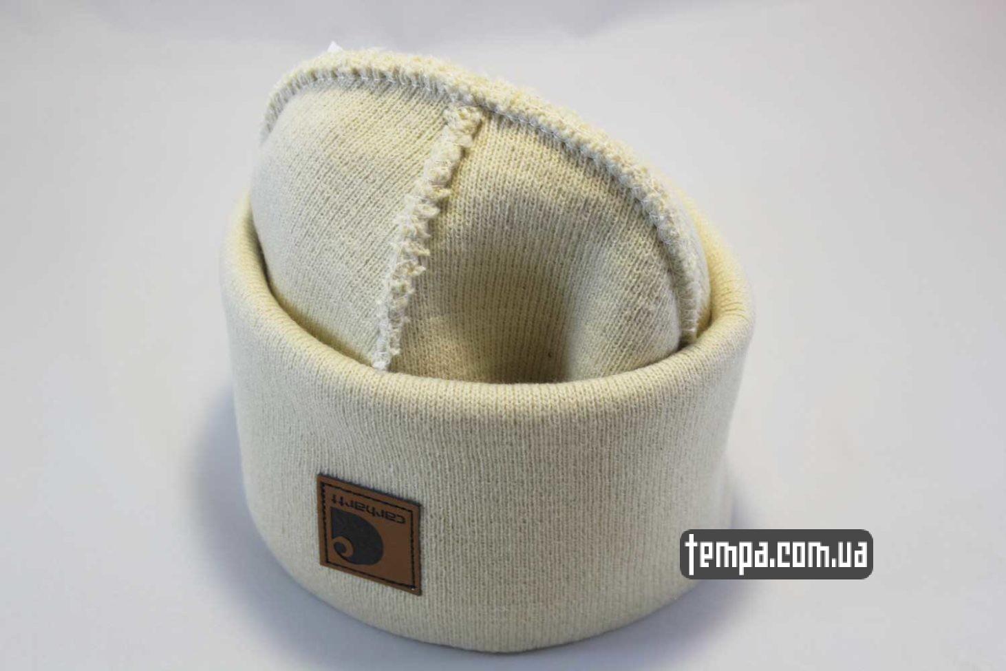 бежевая шапка beanie carhartt white leather кожаная