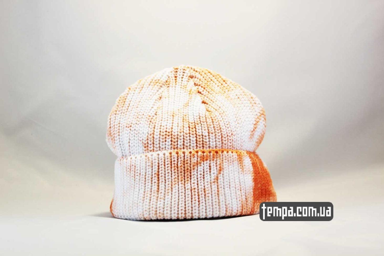 бини купить короткая шапка beanie Carhartt пятнистая оранжево-белая
