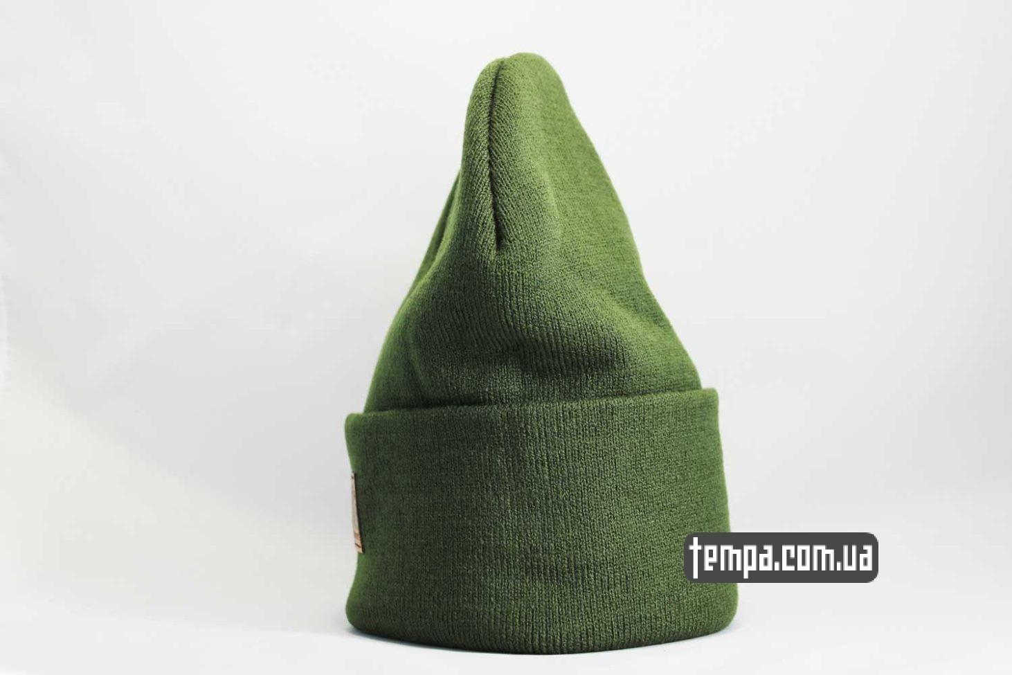 хаки цвет шапка beanie Carhartt кожаная зеленая с логотипом