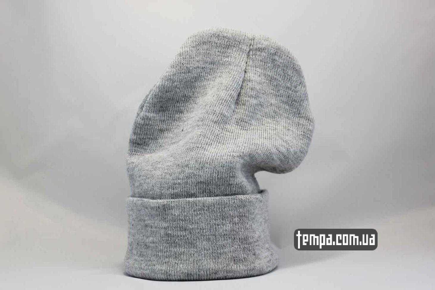 кархарт украина шапка beanie Carhartt серая кожаный логотип