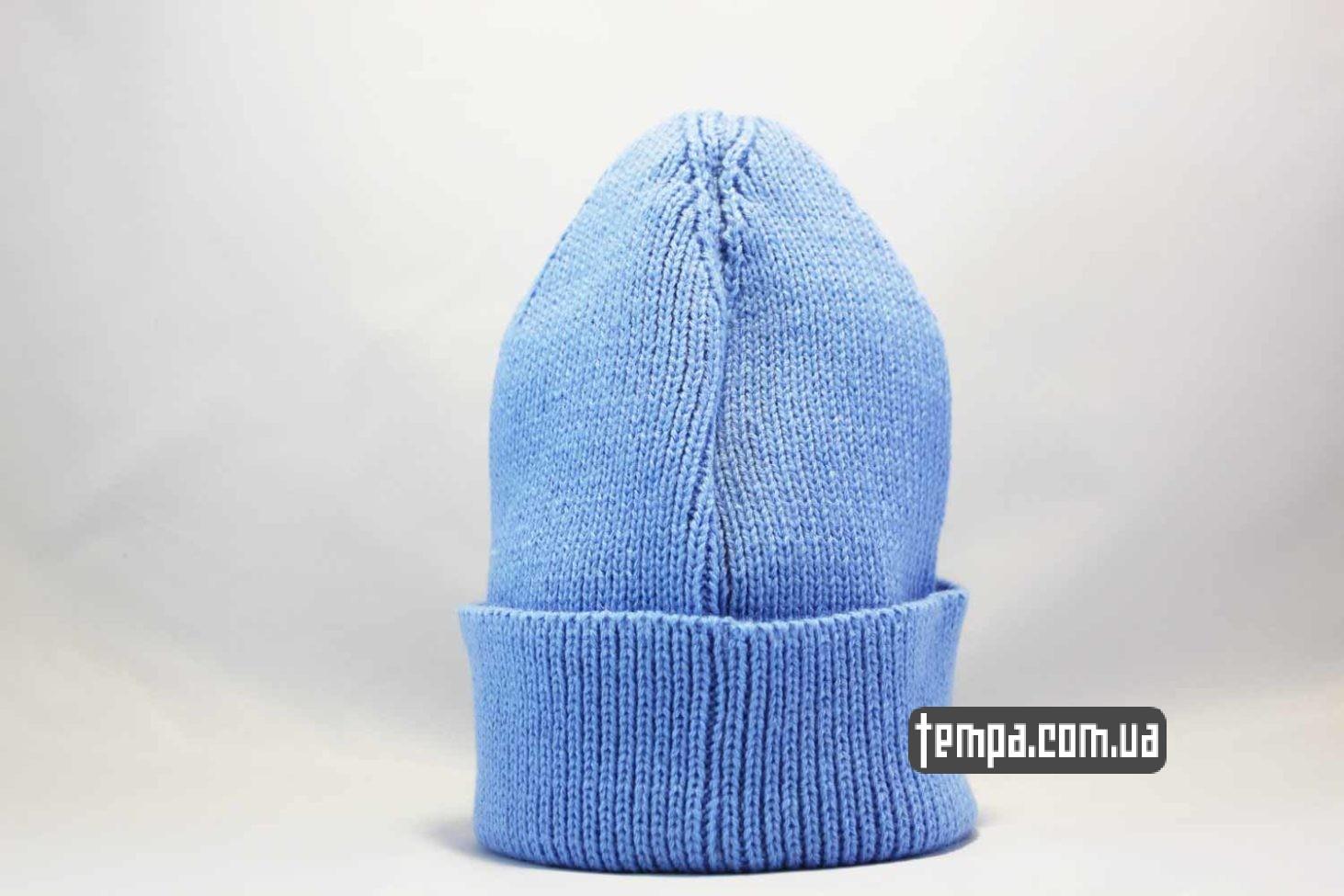 купить теплую зимнюю шапка beanie STUSSY Ukraine edition синяя с украинским флагом