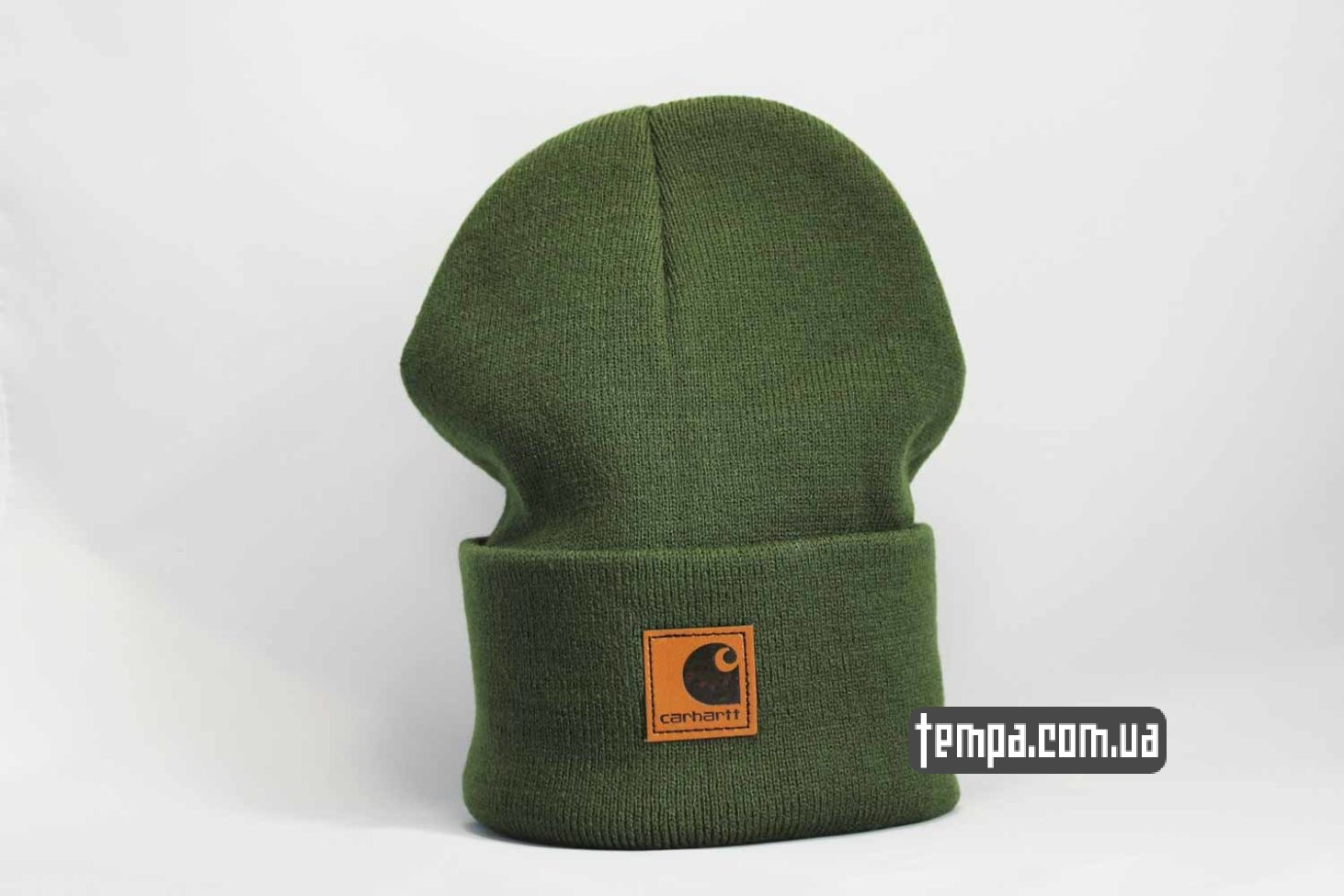 шапка beanie Carhartt кожаная зеленая с логотипом