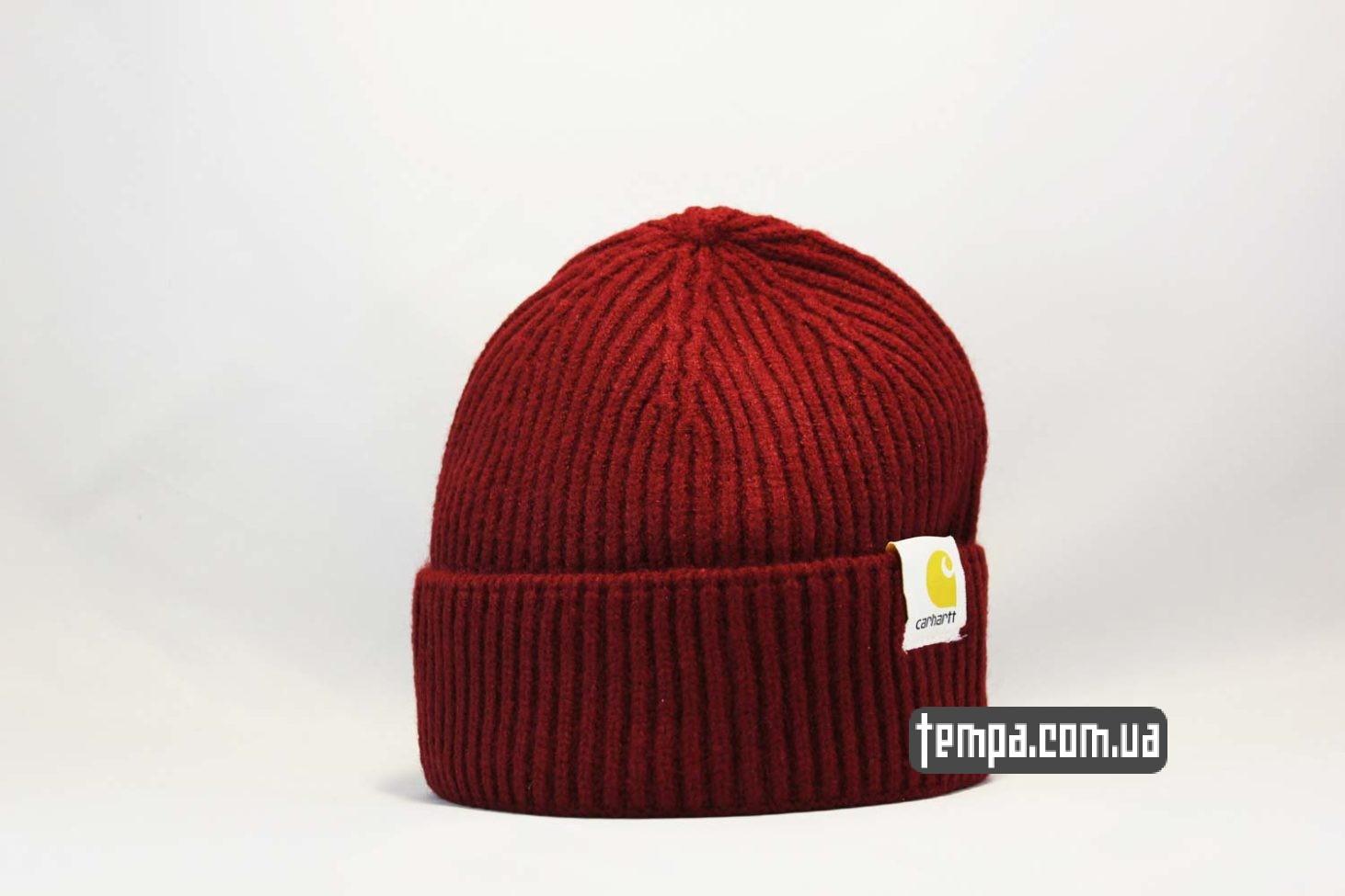 шапка beanie Carhartt red красная купить