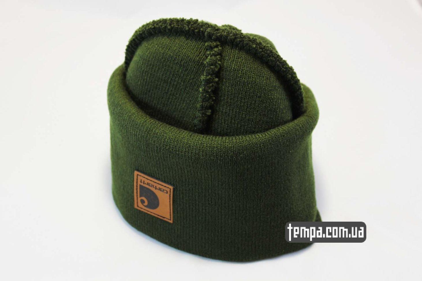 темно-зеленая шапка beanie Carhartt кожаная зеленая с логотипом