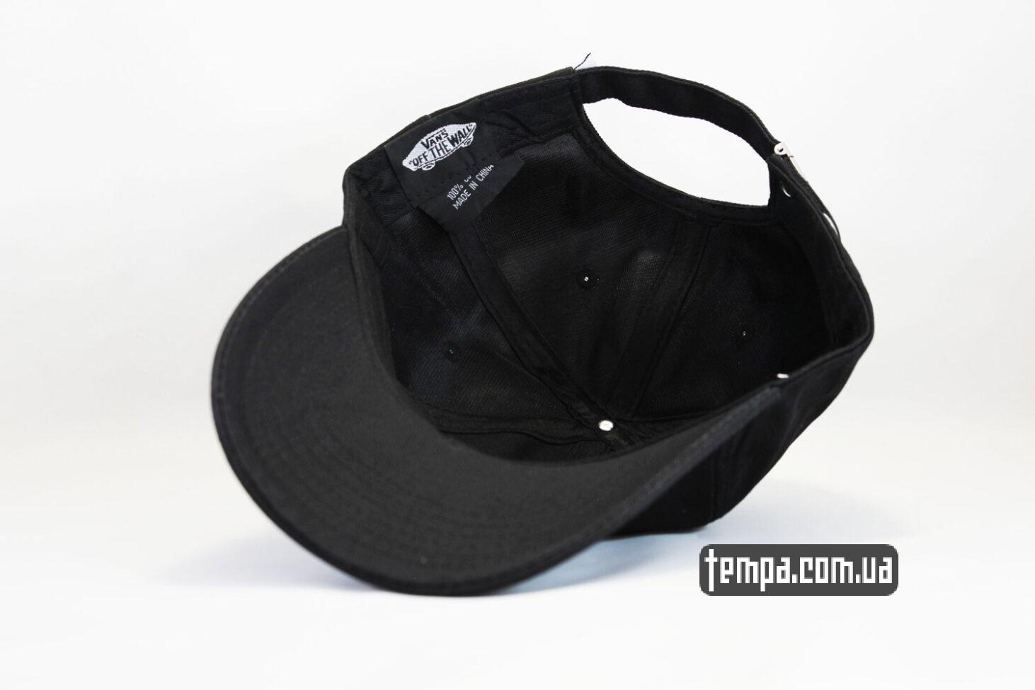 одежда венс кепка VANS black логотип сбоку черная бейсболка
